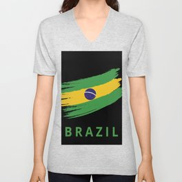 Abstract Brazil Flag Design Unisex V-Neck