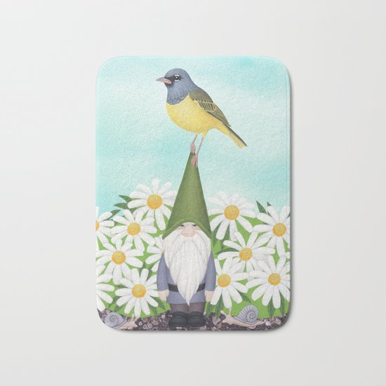 gnome with MacGilivray's warbler and daisies Bath Mat