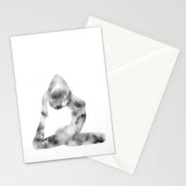 Yoga | King Pigeon Pose | Eka Pada Rajakapotasana Pose | B&W | Meditation | Youth | Happiness | Longevity Stationery Cards