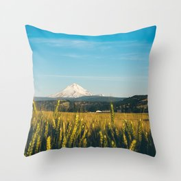 Golden Grain Fields Overlooking Cascade Mountains Throw Pillow