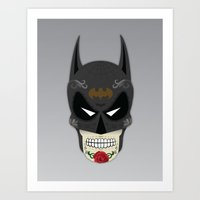superheros Art Prints featuring Bat-Man Sugar Skull by Clark Street Press