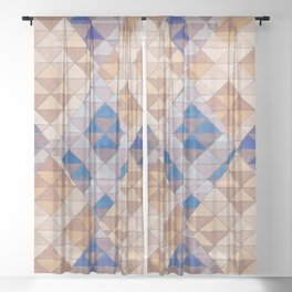 Triangle Pattern No. 13 Shifting Purple and Ochre Sheer Curtain