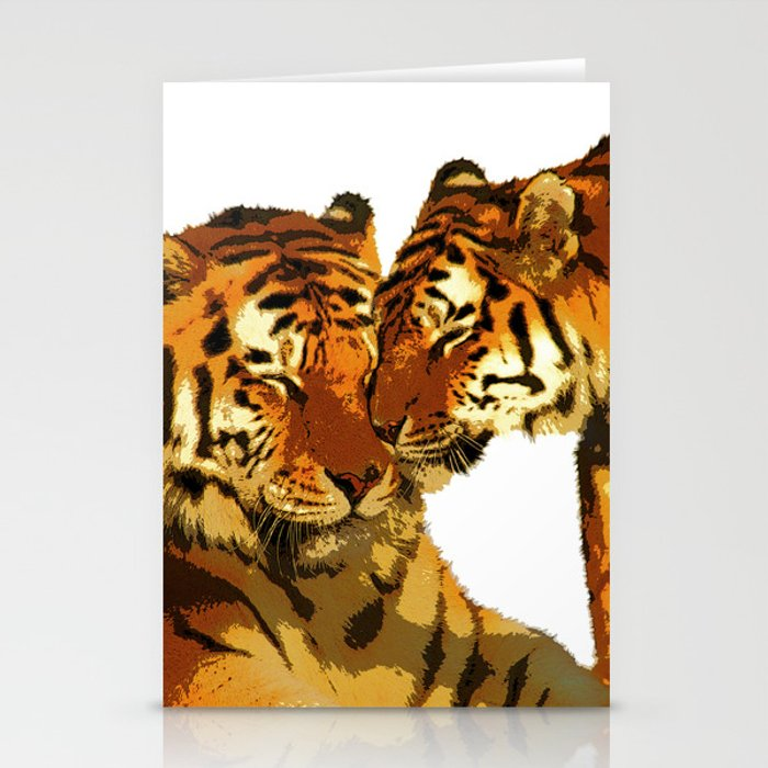Tigers Love Big Cats Affectionate Bengal Tigers Stationery Cards
