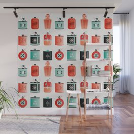 Flask Collection – Red & Turquoise Palette Wall Mural