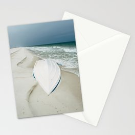 Little White Boat on the Beach Stationery Cards