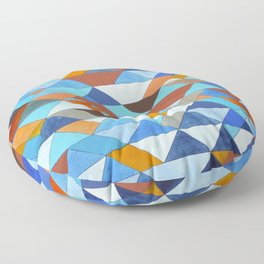 Triangle Pattern no.18 blue and orange Floor Pillow
