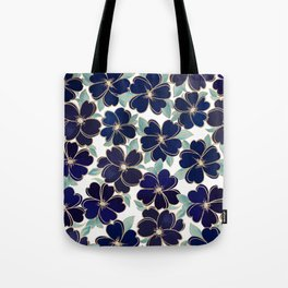 Stylish elegant navy blue gold foil watercolor floral  Tote Bag