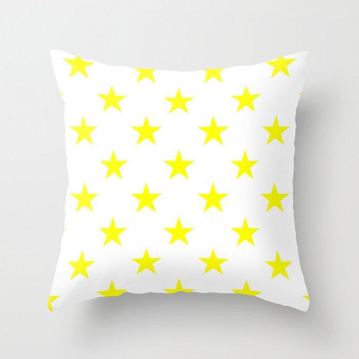 Stars (Yellow/White) Throw Pillow
