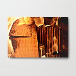 Burning Blocks Metal Print
