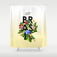 brasil Shower Curtains featuring BRASIL Flora - CAPOEIRA RULES by NELOS Cisneros