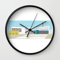 mid century modern Wall Clocks featuring mid-century modern house four by Aubrey Doodle