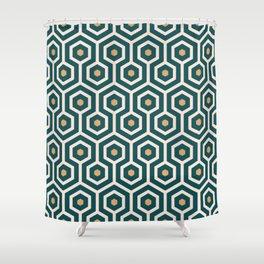 New Art Deco hexagons Emerald green, Mustard yellow geometrics Shower Curtain
