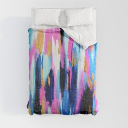 Spring Golden - Pink and Navy Abstract Comforters