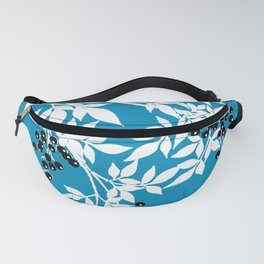 TREE BRANCHES BLUE AND WHITE WITH BLACK BERRIES TOILE Fanny Pack