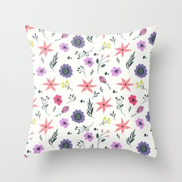 Abstract coral purple violet vector floral pattern Throw Pillow