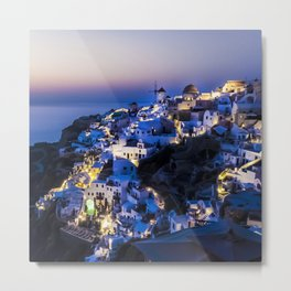 Santorini Island NightView Greece Metal Print