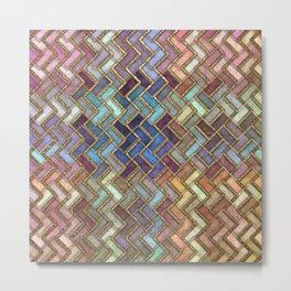 Colorful Royal Gold Geometric Pattern Metal Print