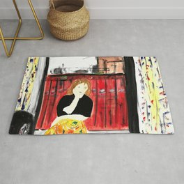 Portrait of my Mother in Rome French Fine Art Painting Rug