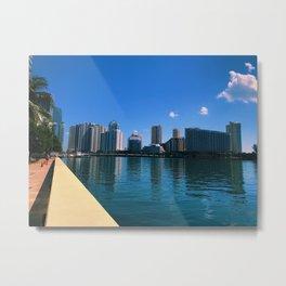 Brickell Key Skyline over Biscayne Bay Metal Print