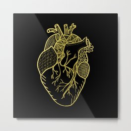 Designer Heart Gold Metal Print