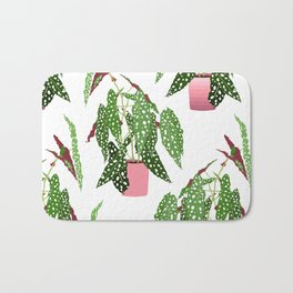 Simple Potted Polka Dot Begonia Plants in White Bath Mat