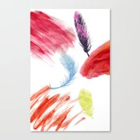 valar morghulis Canvas Prints featuring Feathers by beatrice