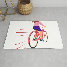 Girl Riding Vintage Bicycle Retro Rug
