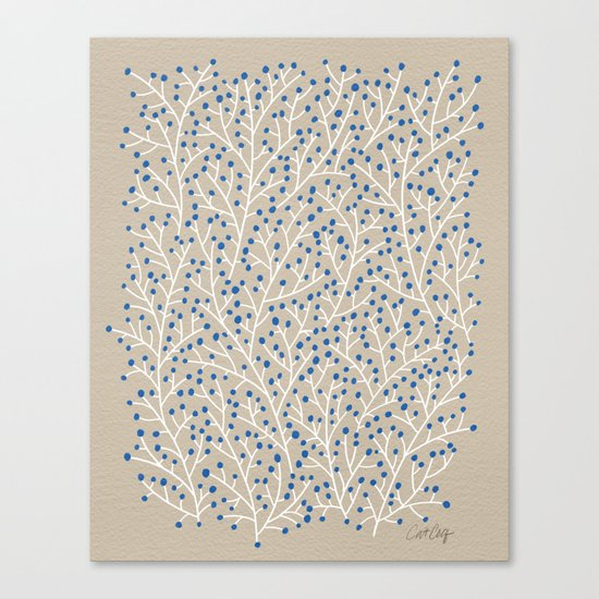 Blue & White Berry Branches Canvas Print