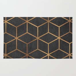 Charcoal and Gold - Geometric Textured Cube Design I Rug