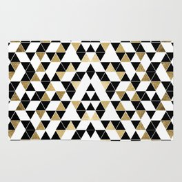 Modern Black, White, and Faux Gold Triangles Rug