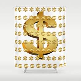 dollar money gold finance Shower Curtain