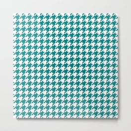 Teal Houndstooth Pattern Metal Print
