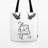 larry stylinson Tote Bags featuring Larry Stylinson - Love is Equal by Aki-anyway