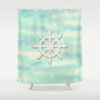 ships Shower Curtains featuring Ships Wheel in cream by Fischer Fine Arts
