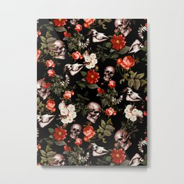 Floral and Skull Dark Pattern Metal Print