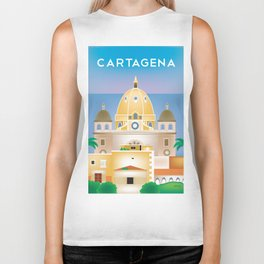 Cartagena, Columbia - Skyline Illustration by Loose Petals Biker Tank