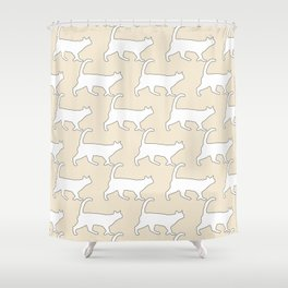 Minimal Cat Pattern Tan and White Simple Line Shower Curtain