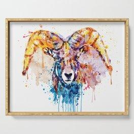 Bighorn Sheep Portrait Serving Tray