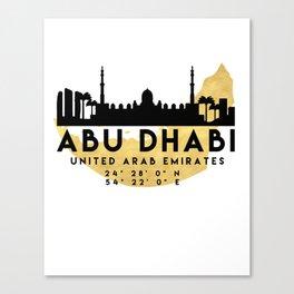 ABU DHABI UNITED ARAB EMIRATES SILHOUETTE SKYLINE MAP ART Canvas Print