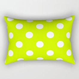 Polka Dots - White on Fluorescent Yellow Rectangular Pillow