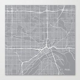 St Paul Map, Minnesota USA - Pewter Canvas Print