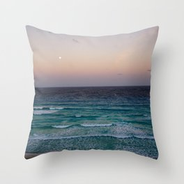 Beach and sky at sunset time Throw Pillow