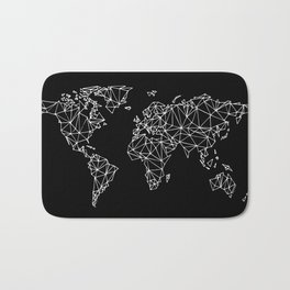 World map black Bath Mat