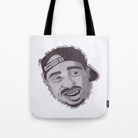 """tupac Tote Bags featuring Tupac ''State Of Mind"""" by SkilledCreativity"""