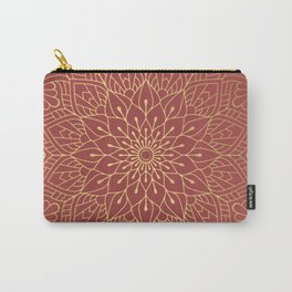 Gold Mandala Pattern On Cherry Red Carry-All Pouch