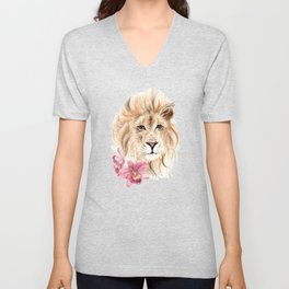 Lion and Orchids - Fauna and Flora 2012 Unisex V-Neck