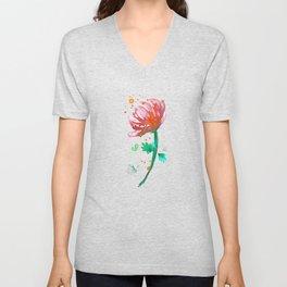 Warm Watercolour Fiordland Flower Unisex V-Neck