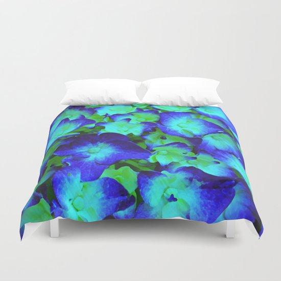Midnight Blue Hydrangea Duvet Cover