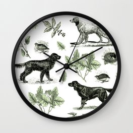 BIRD DOGS & GREEN LEAVES Wall Clock