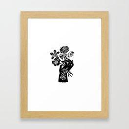 Linocut black and white hand holding flowers art printmaking design Framed Art Print